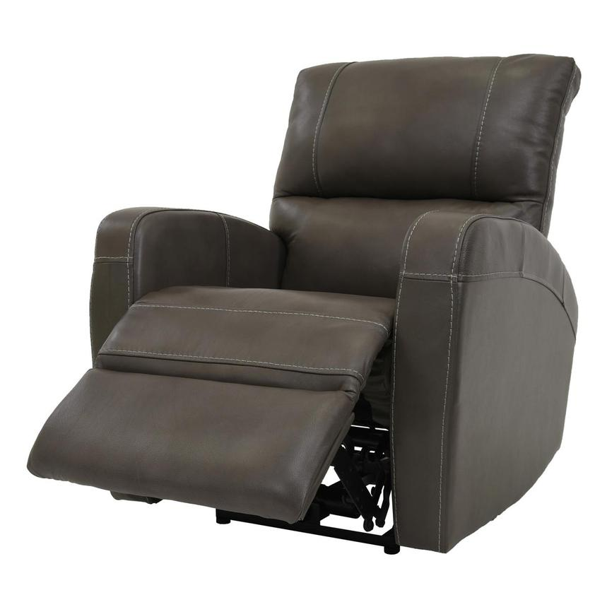 Keegan Gray Power Motion Leather Recliner  alternate image, 3 of 7 images.