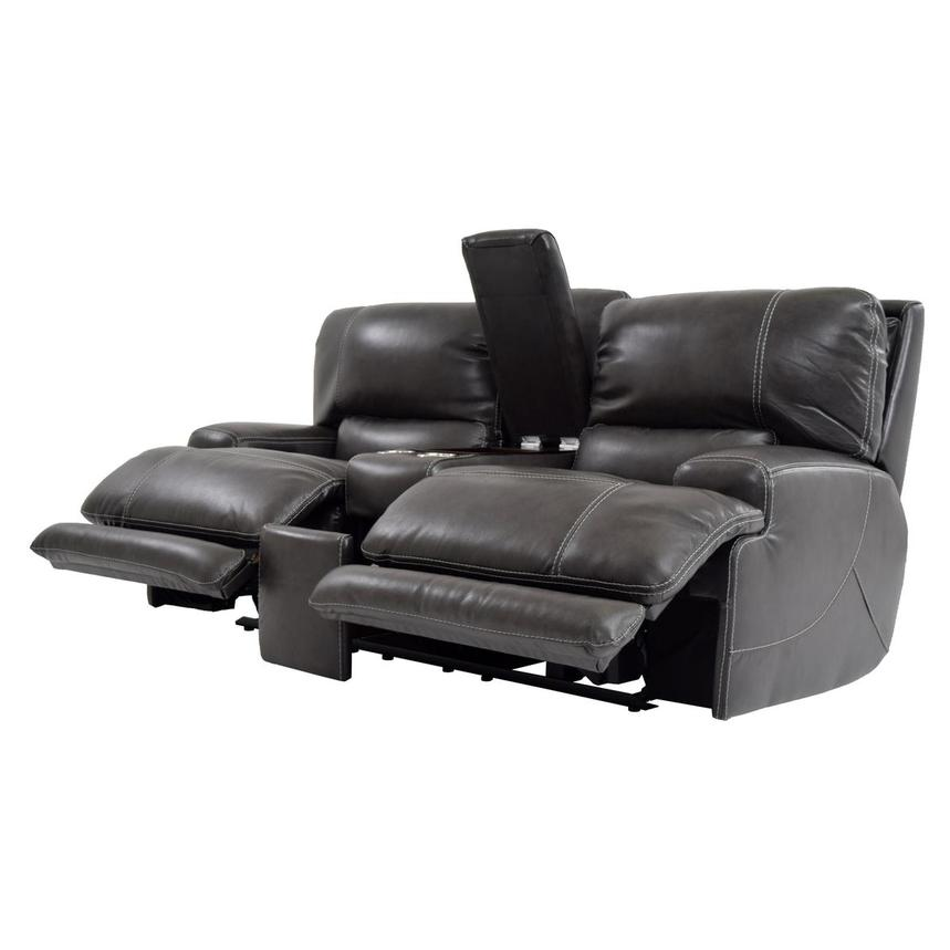 Cody Gray Power Motion Leather Loveseat w/Console  alternate image, 3 of 11 images.