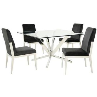 Ghettys/Met Dark Gray 5-Piece Formal Dining Set