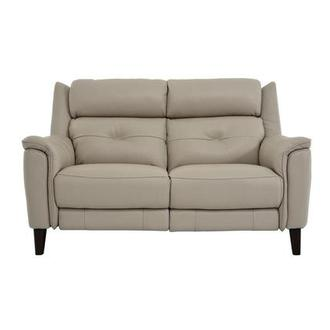 Mayte Cream Power Motion Leather Loveseat
