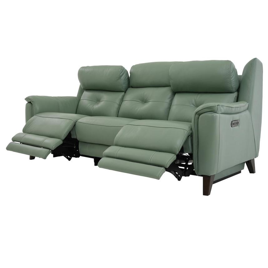 Mayte Green Power Motion Leather Sofa  alternate image, 3 of 10 images.