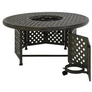 Castle Rock Gray Round Dining Table w/ Fire Pit  alternate image, 2 of 6 images.