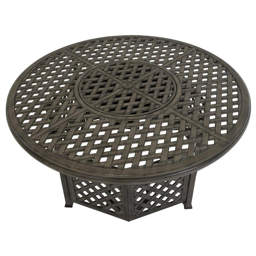 Castle Rock Gray Round Dining Table w/ Fire Pit  alternate image, 3 of 6 images.