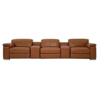 Charlie Tan Home Theater Leather Seating