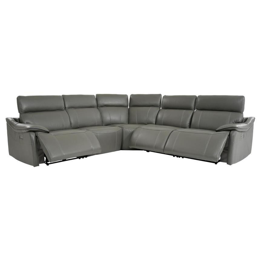 Austin Dark Gray Power Motion Leather Sofa w/Right & Left Recliners  alternate image, 2 of 8 images.