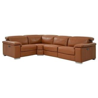 Charlie Tan Power Motion Leather Sofa w/Right & Left Recliners