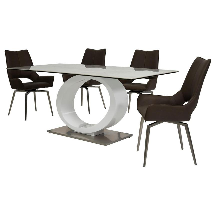Fenti/Kalia Brown 5-Piece Formal Dining Set  alternate image, 2 of 15 images.