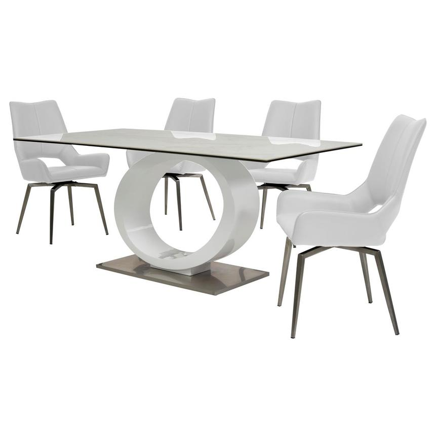 Fenti/Kalia White 5-Piece Formal Dining Set  alternate image, 2 of 14 images.