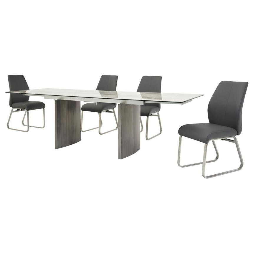 Rome Gray 5-Piece Formal Dining Set  alternate image, 2 of 16 images.