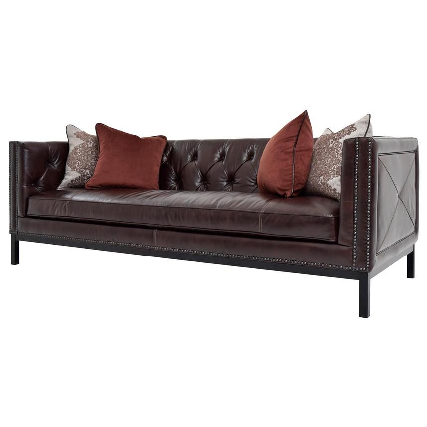 Sophia Brown Leather Sofa  alternate image, 3 of 7 images.