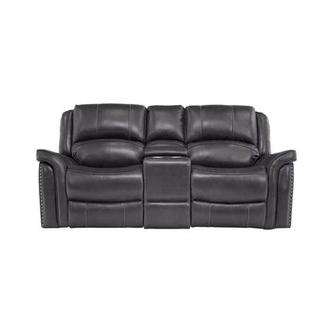 Raleigh Gray Power Motion Leather Sofa w/Console