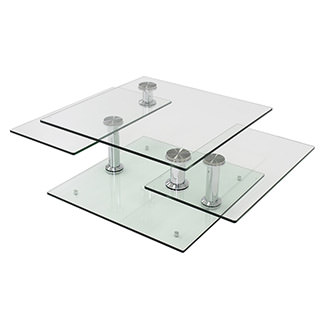 Square Clear Silver Motion Coffee Table