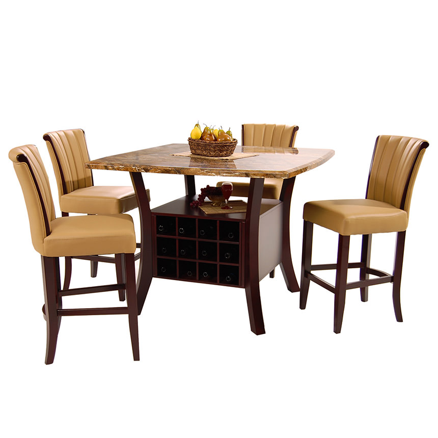 Meredith Tan 5-Piece High Dining Set  alternate image, 2 of 9 images.