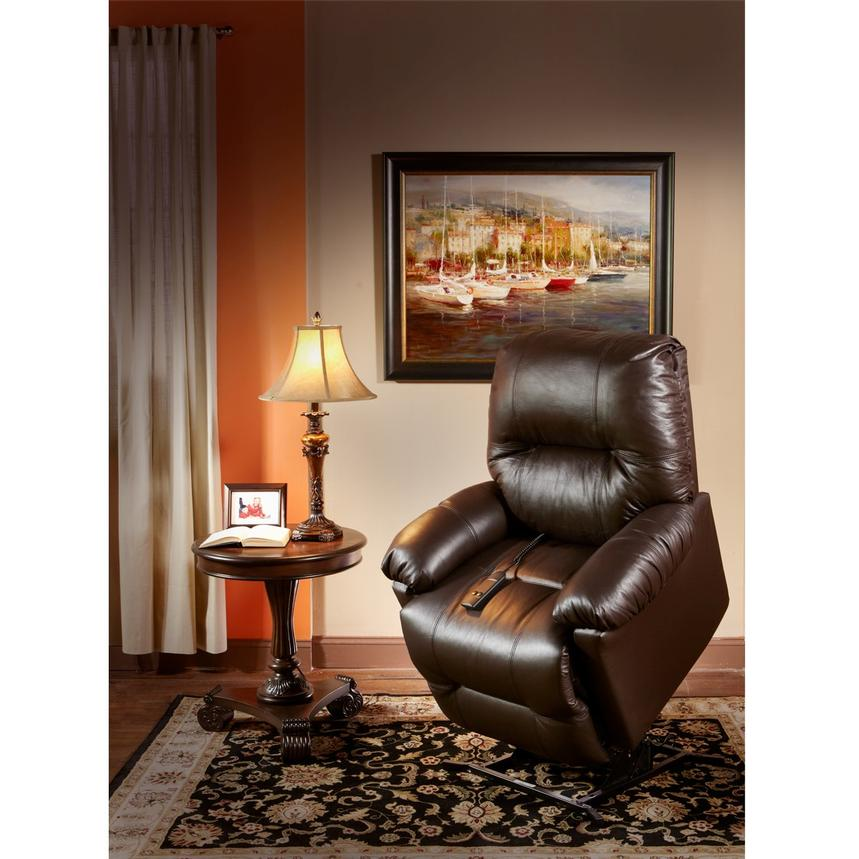 Wynette Brown Leather Power Lift Recliner El Dorado