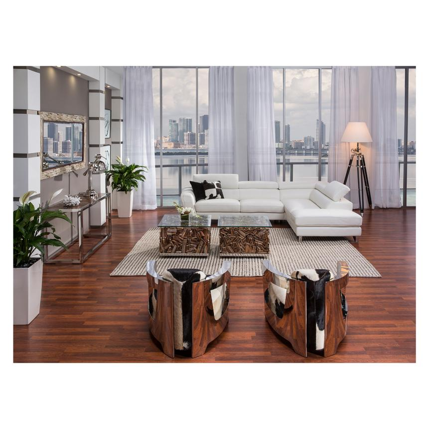 Sparta White Leather Sofa w/Right Chaise  alternate image, 3 of 7 images.