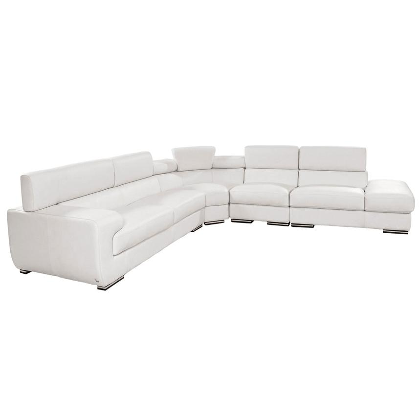 Grace White Leather Sofa w/Right Chaise  alternate image, 3 of 8 images.