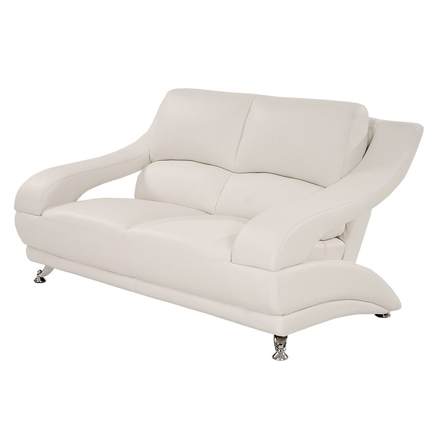 Jedda White Leather Loveseat  main image, 1 of 6 images.
