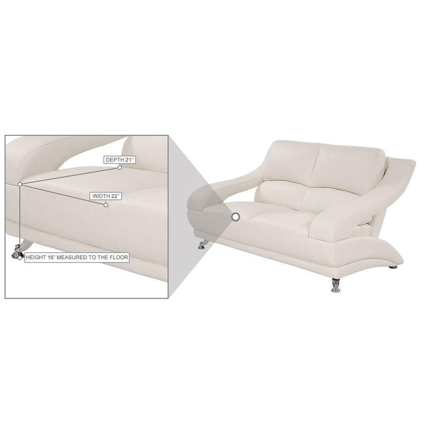 Jedda White Leather Loveseat  alternate image, 6 of 6 images.