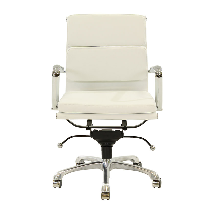 Marconi White Low Back Desk Chair  alternate image, 2 of 5 images.