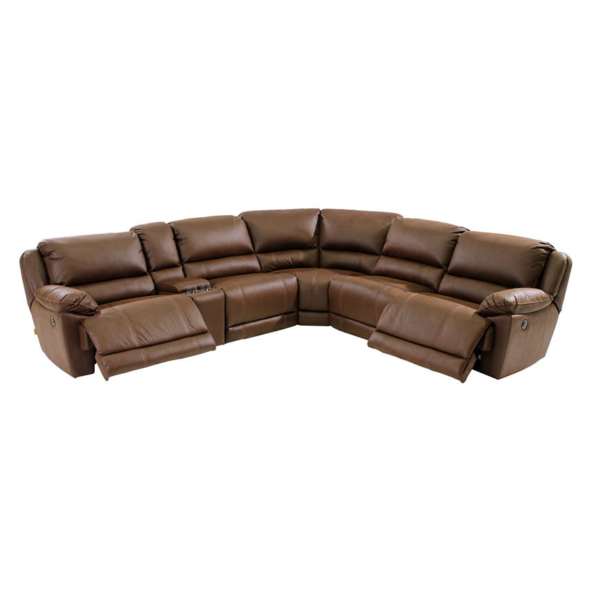 Augusto Chocolate Power Motion Sofa w/Right & Left Recliners  alternate image, 2 of 8 images.