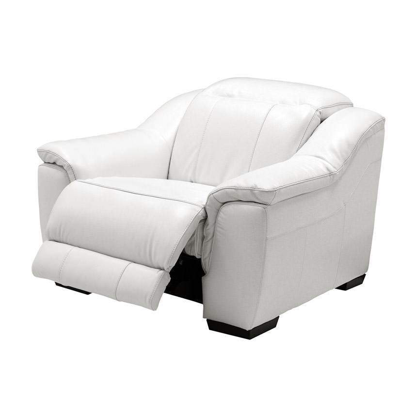 Davis White Power Motion Leather Recliner  alternate image, 3 of 10 images.