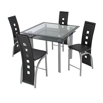 Dominoes Black 5-Piece Counter Dining Set