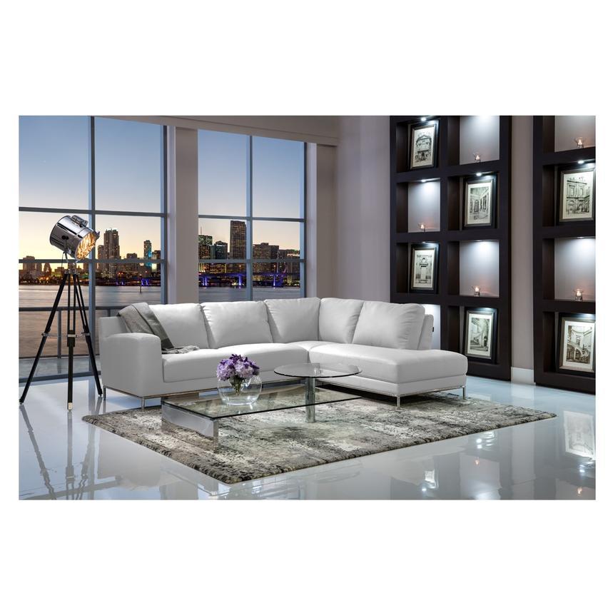 Cantrall White Corner Sofa w/Left Chaise