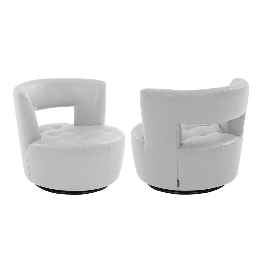 Noale White Swivel Accent Chair  alternate image, 2 of 4 images.