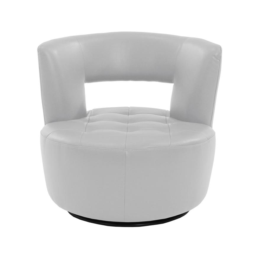 Noale White Swivel Accent Chair  alternate image, 3 of 4 images.