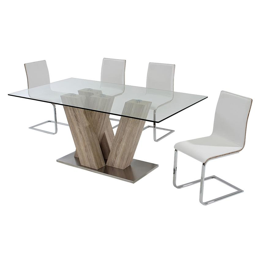 Solimar White 5-Piece Casual Dining Set  alternate image, 3 of 11 images.