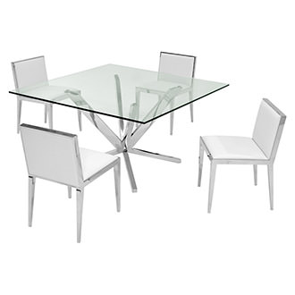 Ghettys I White 5-Piece Formal Dining Set