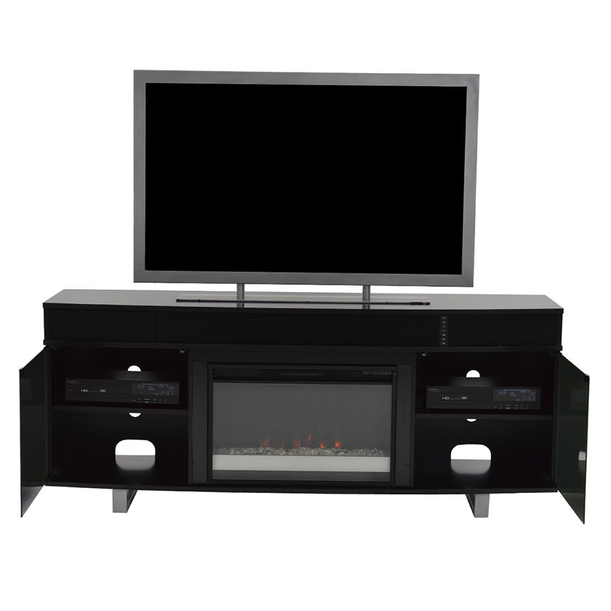 Enterprise Black Electric Fireplace w/Speakers  alternate image, 2 of 6 images.