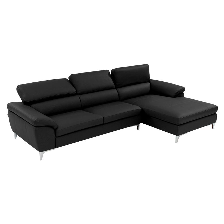 Costa Black Sofa w/Right Chaise  alternate image, 2 of 6 images.