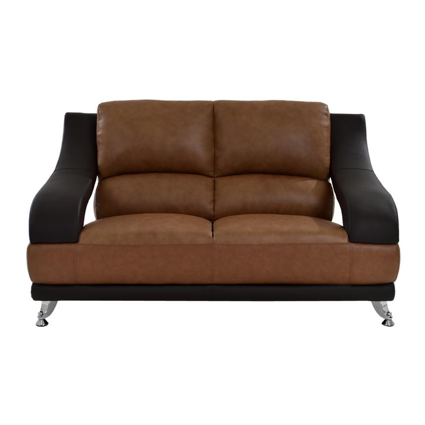 Jedda Camel Leather Loveseat  alternate image, 3 of 10 images.