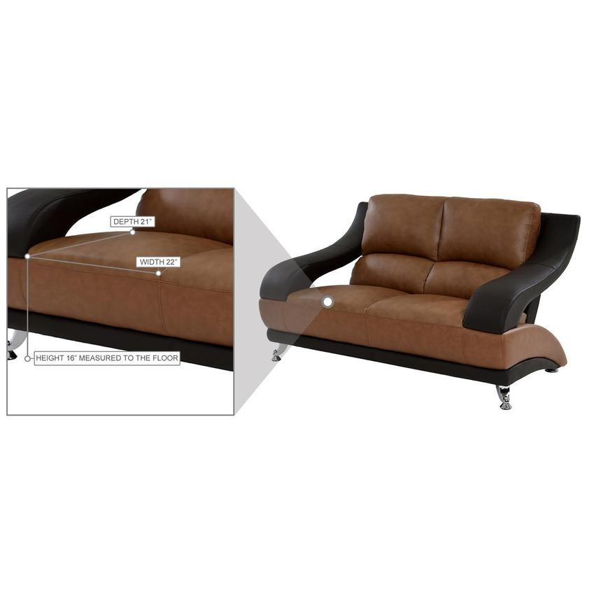Jedda Camel Leather Loveseat  alternate image, 8 of 10 images.
