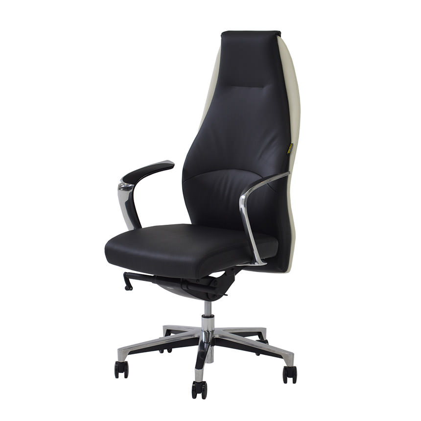 Stupendous Prector Black White Leather Desk Chair Ncnpc Chair Design For Home Ncnpcorg