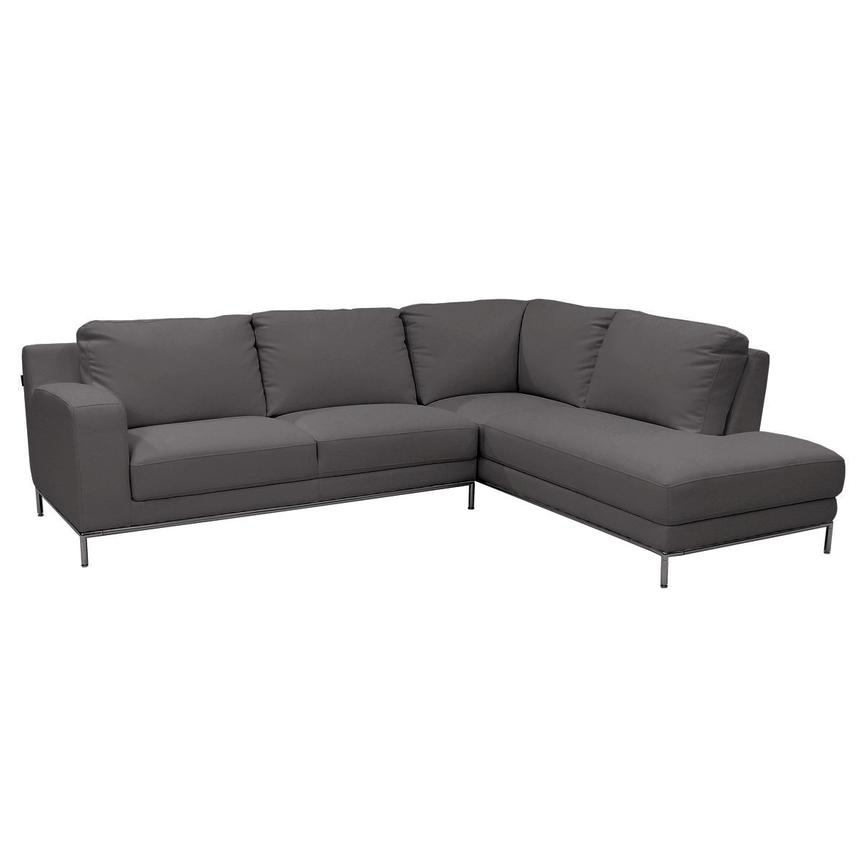 Cantrall Dark Gray Corner Sofa w/Right Chaise  main image, 1 of 8 images.