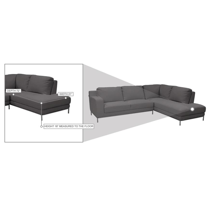 Cantrall Dark Gray Corner Sofa w/Right Chaise  alternate image, 8 of 9 images.