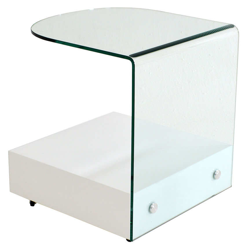 Maria White Side Table w/Casters  alternate image, 3 of 5 images.