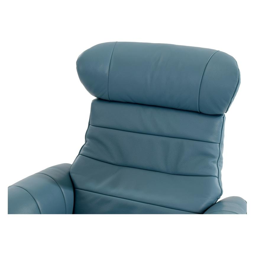 Enzo Blue Leather Swivel Chair  alternate image, 8 of 13 images.