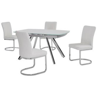 Alina White 5-Piece Casual Dining Set