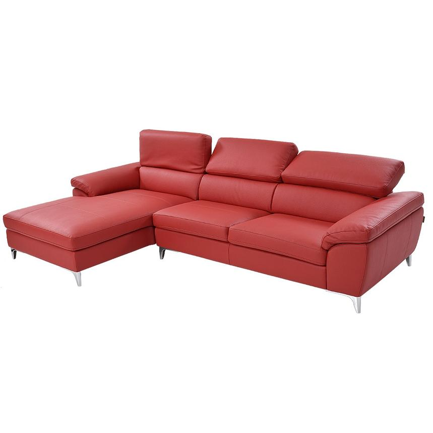 Costa Red Sofa w/Left Chaise  alternate image, 2 of 6 images.