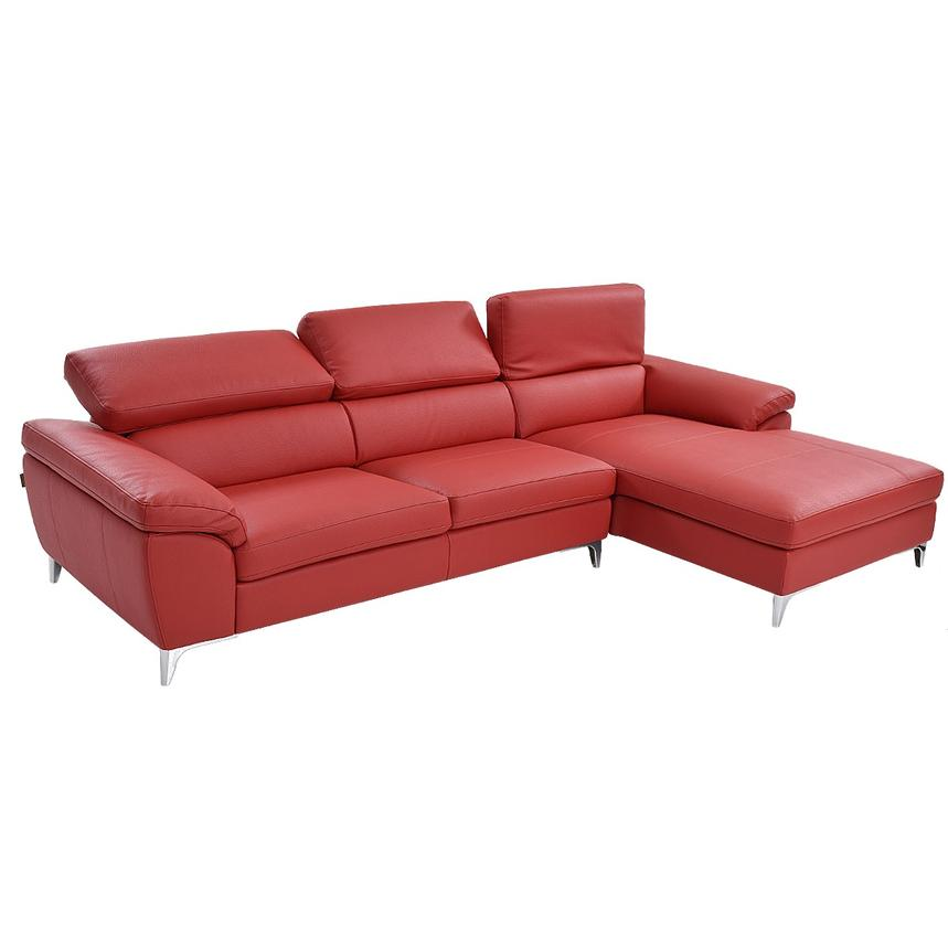 Costa Red Sofa w/Right Chaise  alternate image, 2 of 6 images.