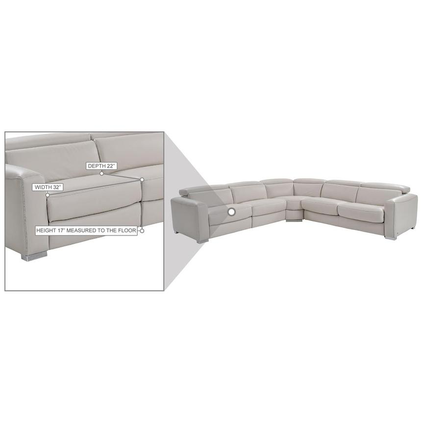 Bay Harbor Light Gray Leather Power Reclining Sectional w/Right Sleeper  alternate image, 8 of 8 images.