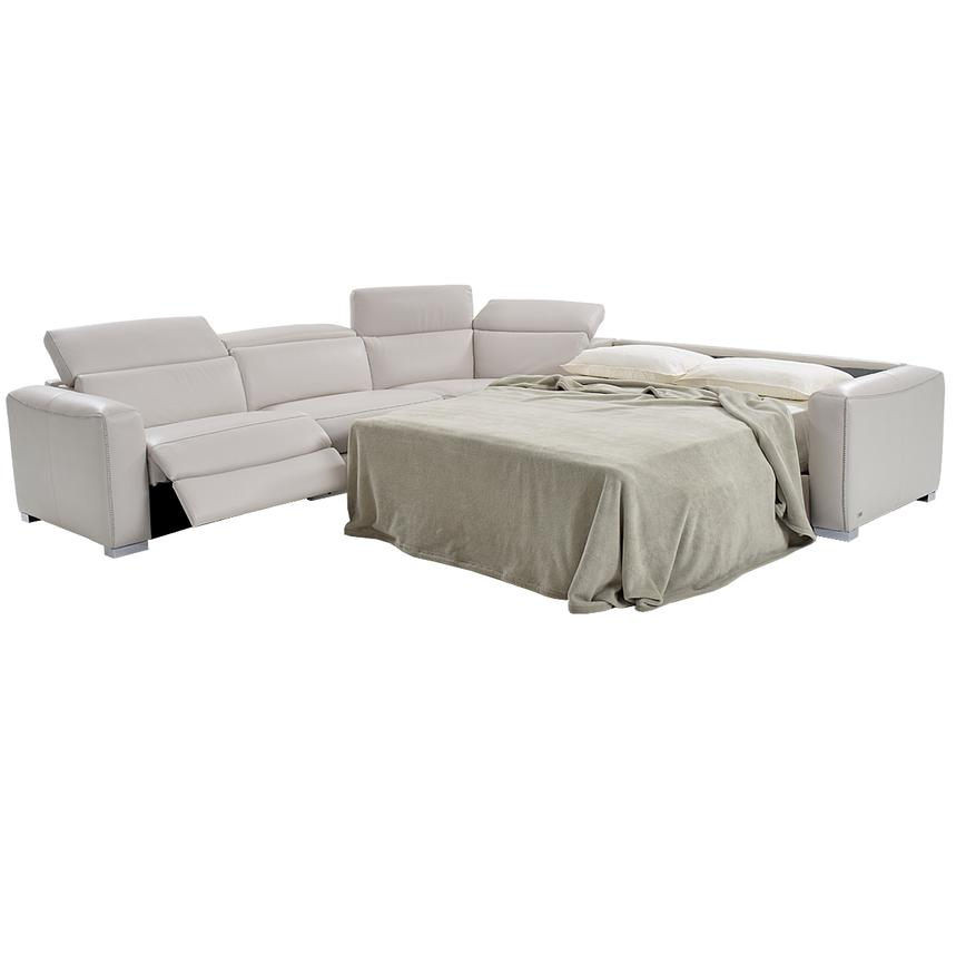 Bay Harbor Light Gray Leather Power Reclining Sectional w/Right Sleeper  alternate image, 2 of 7 images.