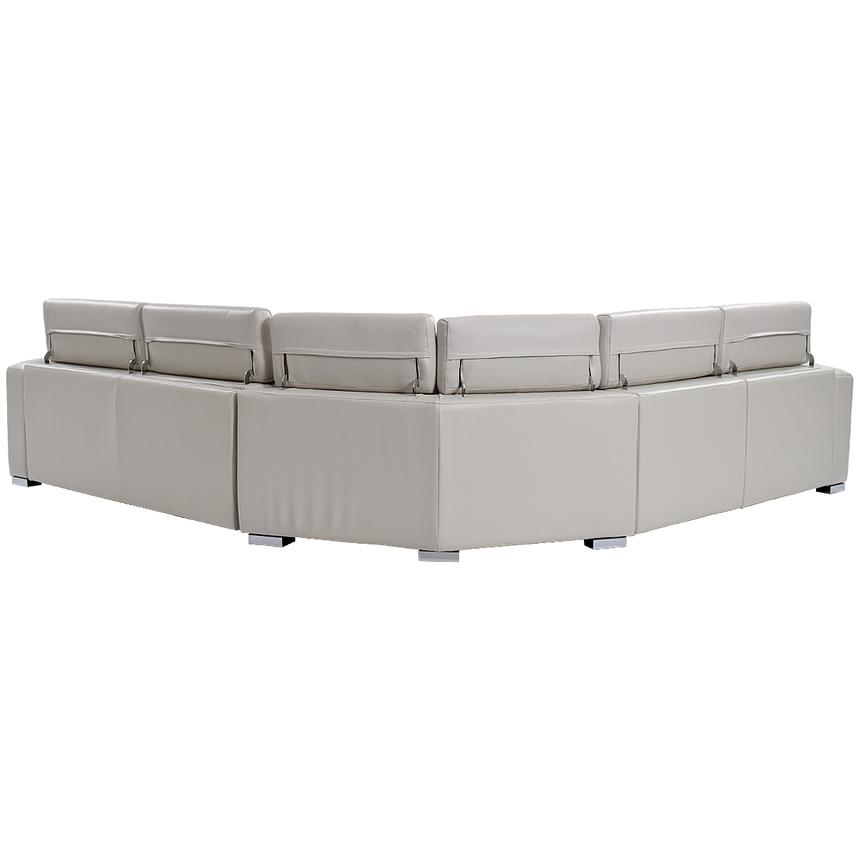 Bay Harbor Light Gray Leather Power Reclining Sectional w/Right Sleeper  alternate image, 3 of 8 images.