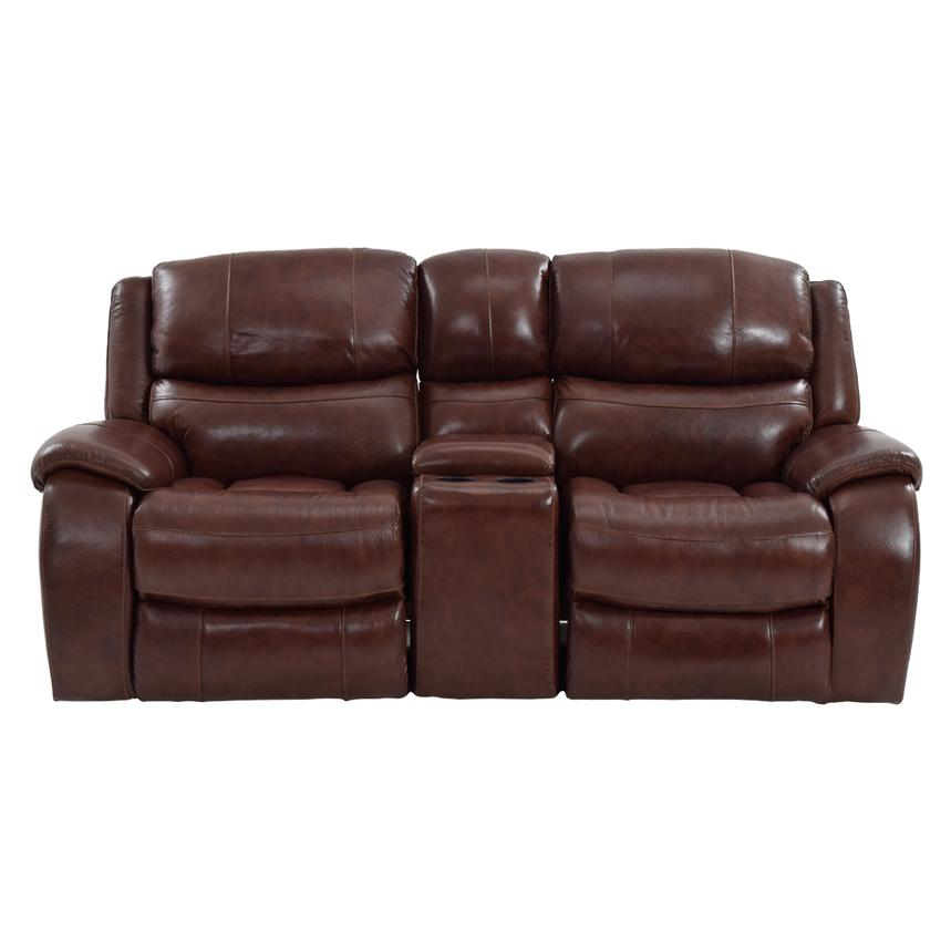 Abilene Recliner Leather Sofa w/Console  alternate image, 3 of 8 images.