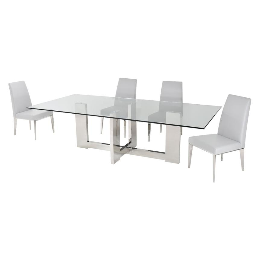 Opus White 5-Piece Formal Dining Set  alternate image, 3 of 10 images.
