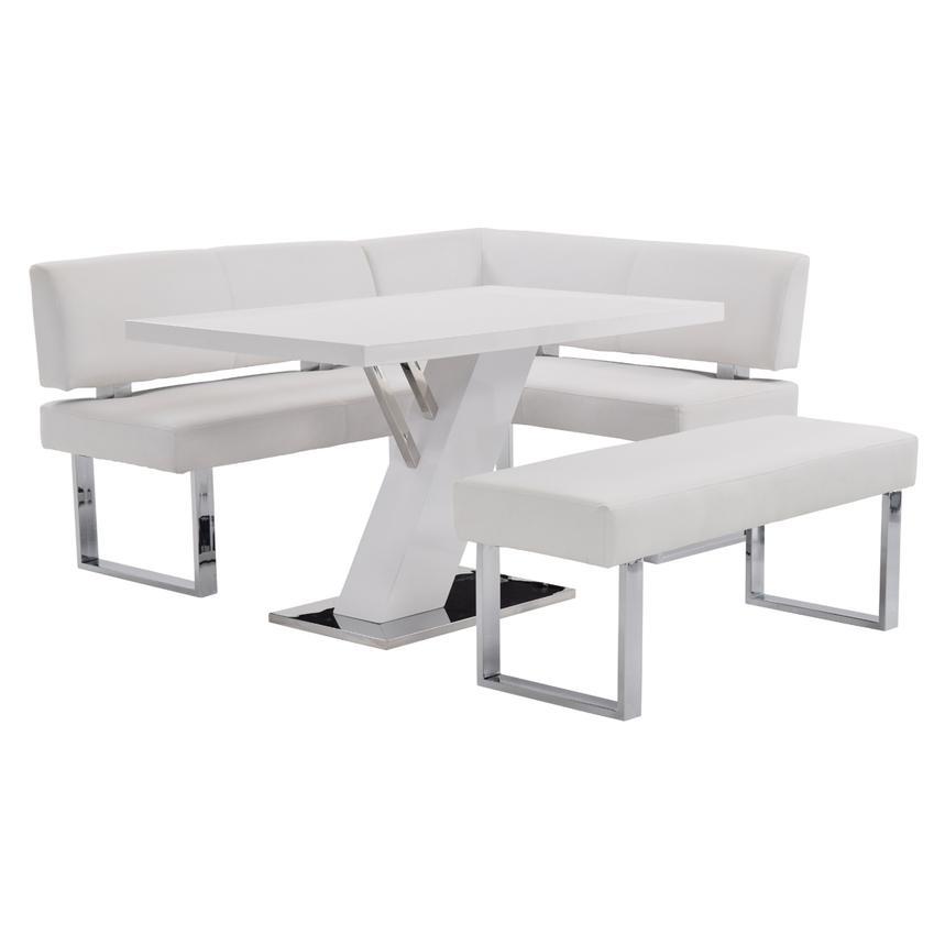 Magnificent Linden White Right Corner Nook Set W Bench Spiritservingveterans Wood Chair Design Ideas Spiritservingveteransorg