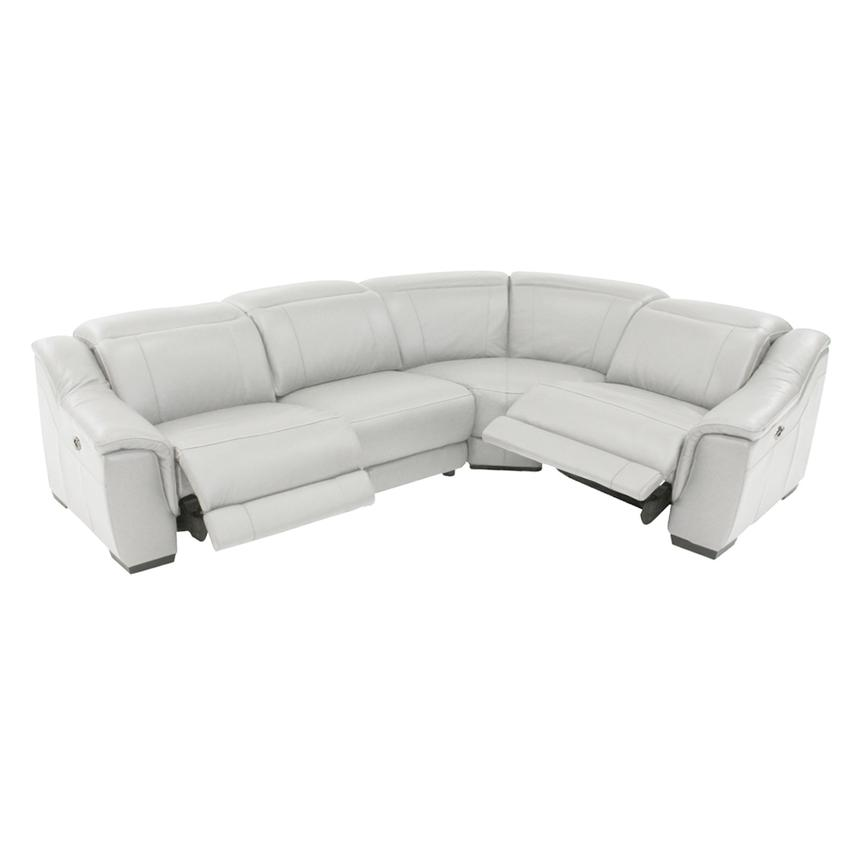 Davis White Leather Power Reclining Sectional  alternate image, 2 of 9 images.